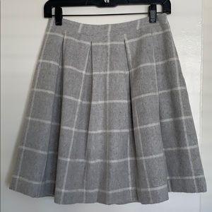 Anthopologie gray wool boxpleat window pane skirt